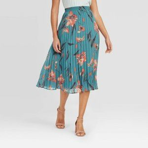A New Day Women's High Rise Pleated Floral Skirt